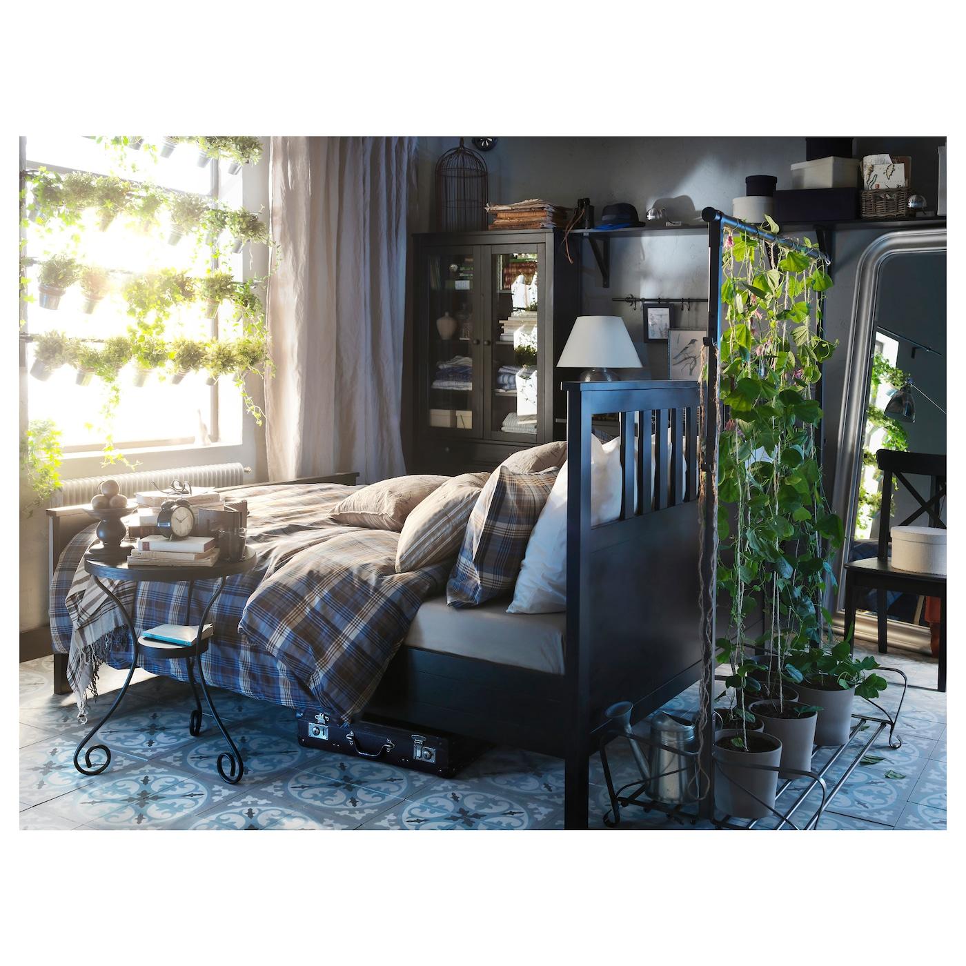 hemnes bed frame black brown lur y standard double ikea. Black Bedroom Furniture Sets. Home Design Ideas