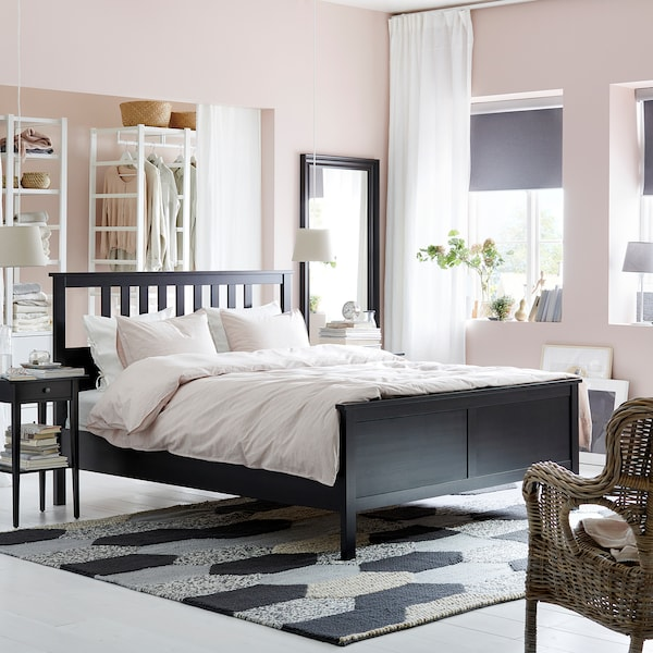 HEMNES Bed frame, black-brown/Luröy, Standard Double
