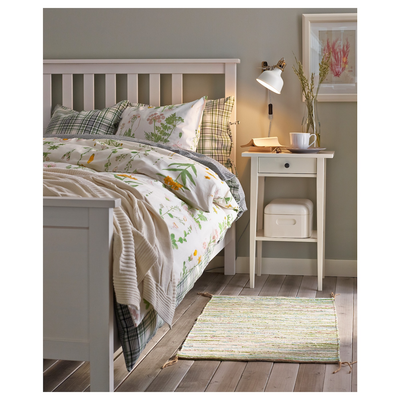 hemnes bed frame white stain leirsund 180x200 cm ikea. Black Bedroom Furniture Sets. Home Design Ideas