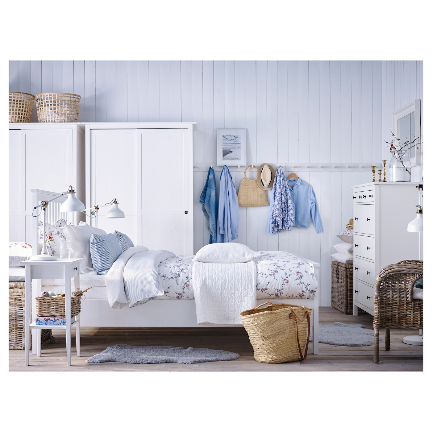 hemnes bed frame white stain lur y 160x200 cm ikea. Black Bedroom Furniture Sets. Home Design Ideas
