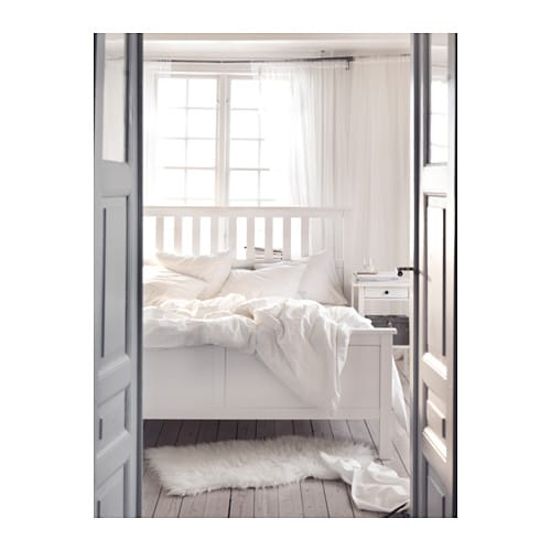 hemnes bed frame white stain lur y 180x200 cm ikea. Black Bedroom Furniture Sets. Home Design Ideas