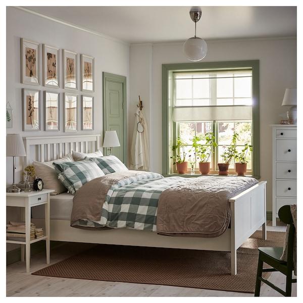 HEMNES Bed frame, white stain/Luröy, Standard Double