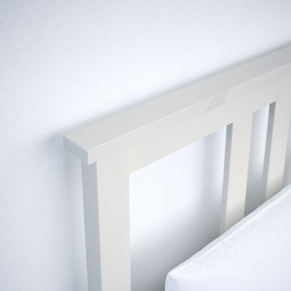 HEMNES Bed frame with 2 storage boxes, white stain/Luröy, Standard Single