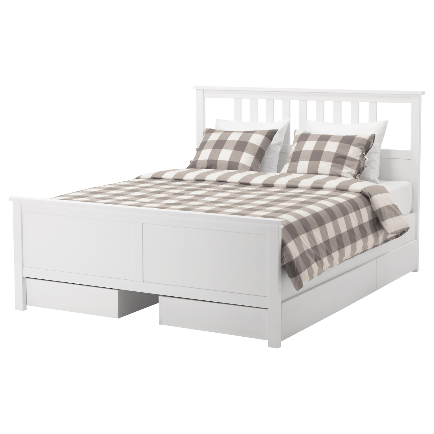 HEMNES Bed frame with 4 storage boxes White stainlury Standard