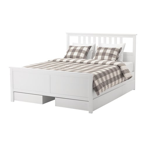HEMNES Bed frame with 4 storage boxes White stain/luröy Standard ...
