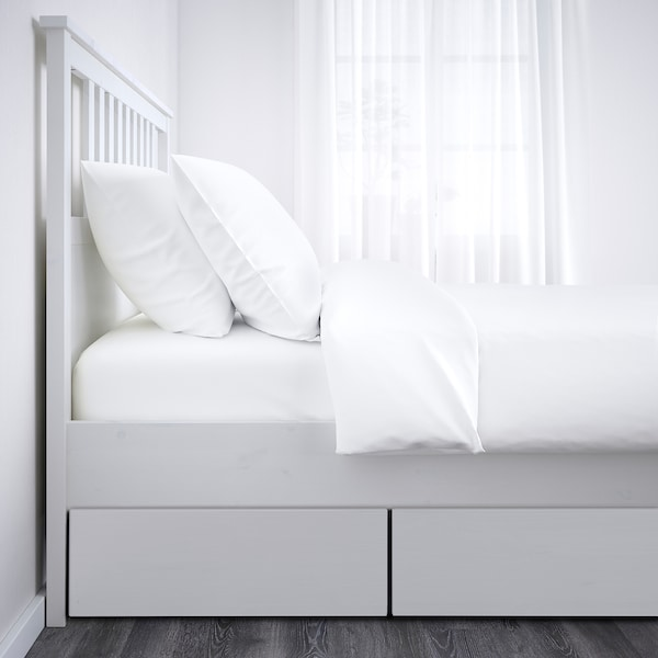 HEMNES Bed frame with 4 storage boxes, white stain/Luröy, Standard Double