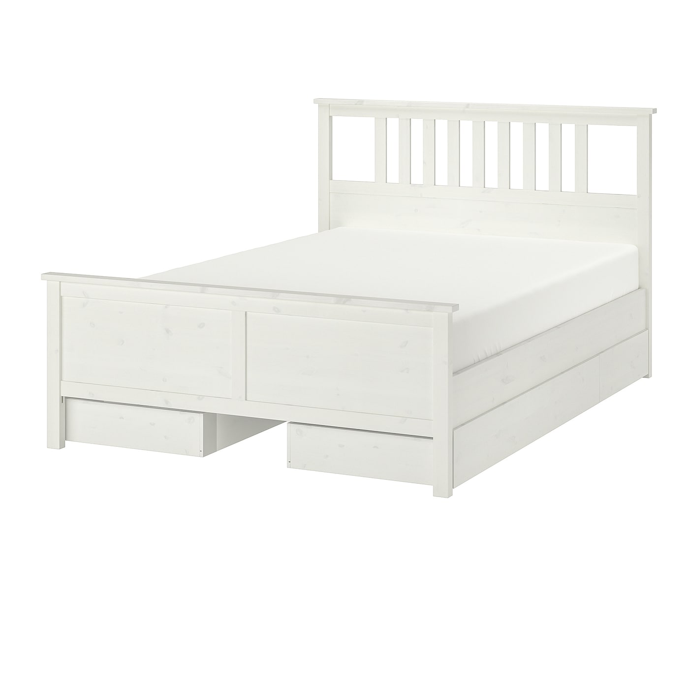 Hemnes White Stain Luroy Bed With 4 Storage Boxes Standard Double Ikea
