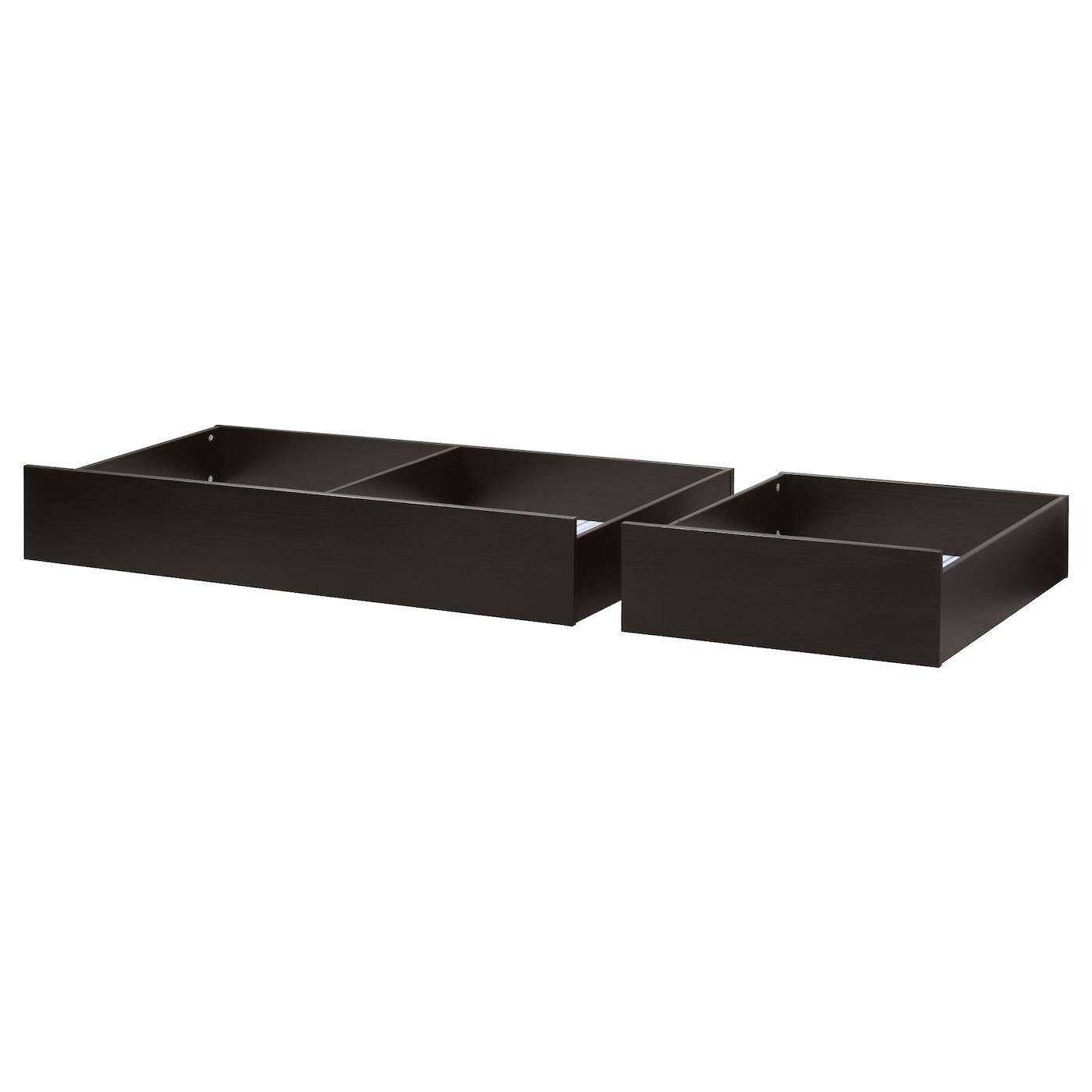 Hemnes Bed Storage Box Set Of 2 Black Brown Double Ikea