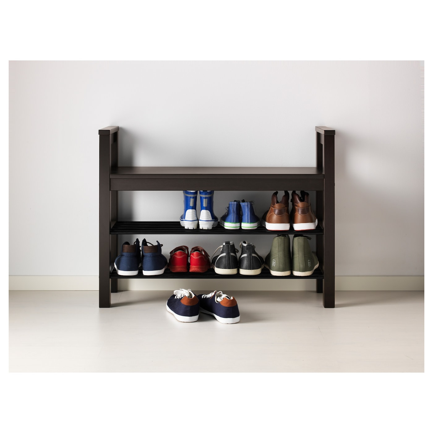 hemnes bench with shoe storage black brown 85x32 cm ikea. Black Bedroom Furniture Sets. Home Design Ideas