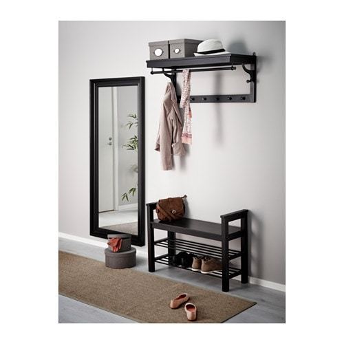 Hemnes bench with shoe storage black brown 85x32 cm ikea - Banc rangement chaussures ikea ...