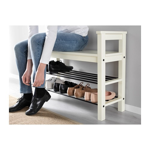 Hemnes bench with shoe storage white 85x32 cm ikea - Banc de rangement chaussures ...