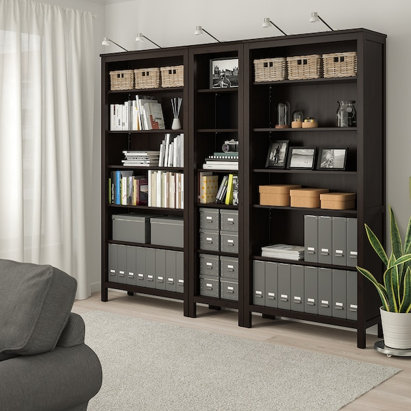 HEMNES Bookcase, black-brown, 229x197 cm
