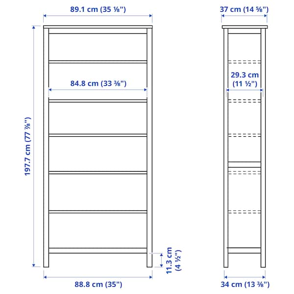 HEMNES Bookcase, white stain, 90x197 cm