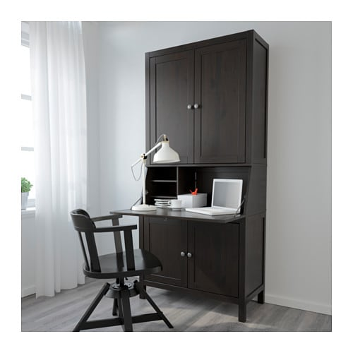 Hemnes bureau with add on unit black brown 89x197 cm ikea for Bureau hemnes