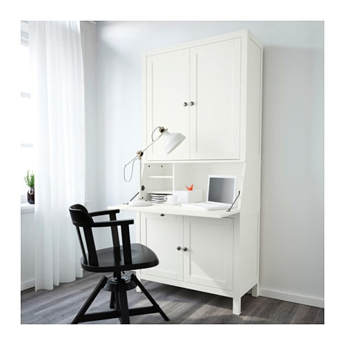 hemnes bureau with add on unit white stain 89x198 cm ikea. Black Bedroom Furniture Sets. Home Design Ideas