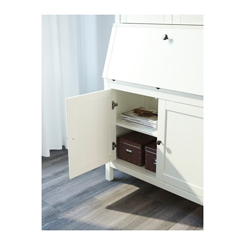 Hemnes bureau with add on unit white stain 89x198 cm ikea for Bureau hemnes