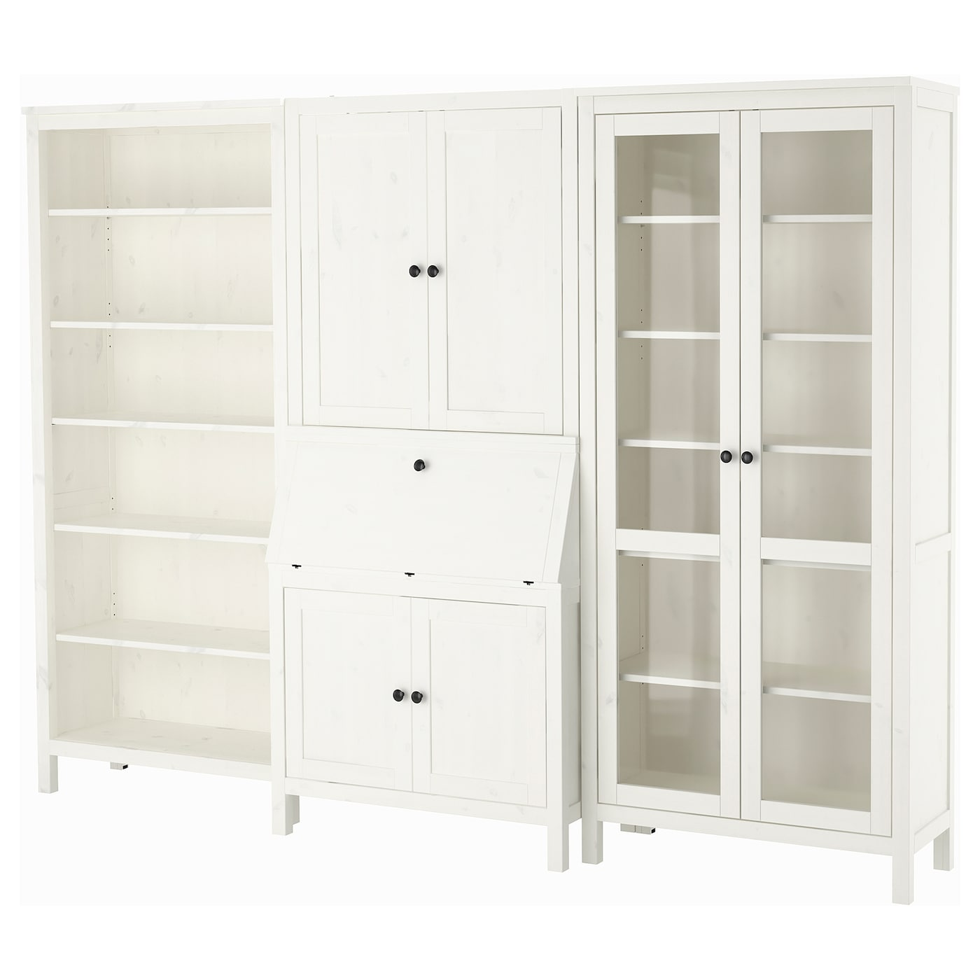 Hemnes bureau with add on unit bookcase white stained for Ikea comodino hemnes