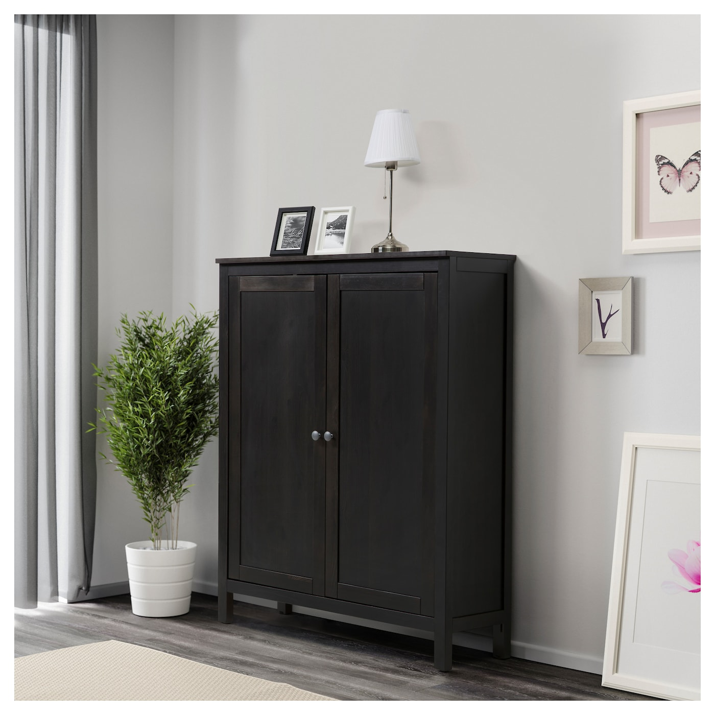 hemnes cabinet with 2 doors black brown 99x130 cm ikea. Black Bedroom Furniture Sets. Home Design Ideas