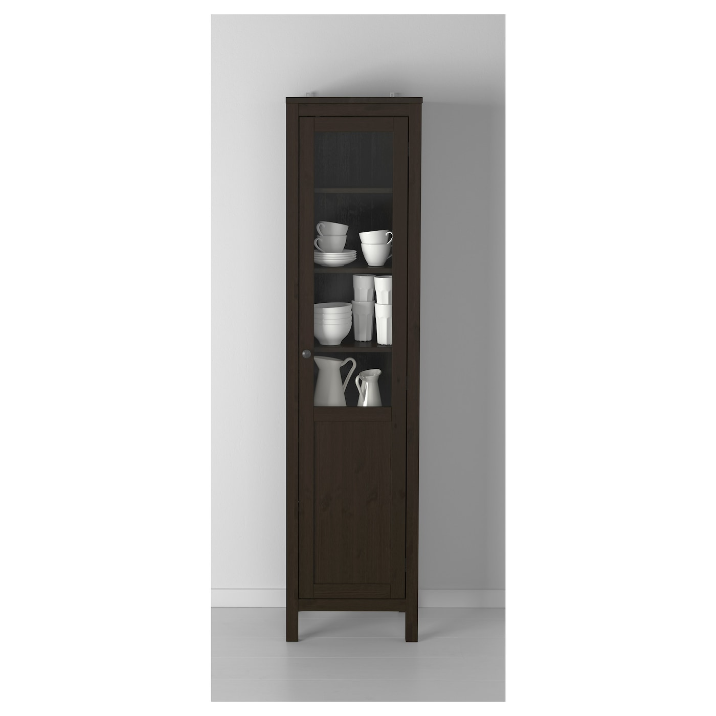 Hemnes cabinet with panel glass door black brown 49x197 cm for Black cabinet with doors