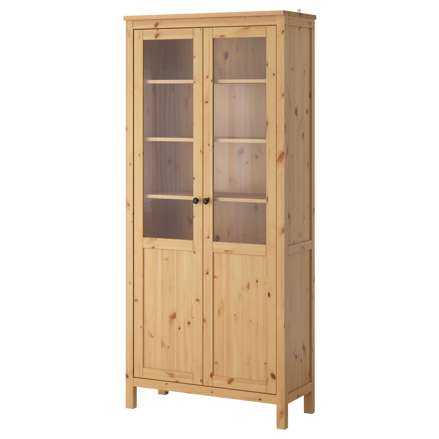 IKEA HEMNES cabinet with panel/glass-door Solid wood has a natural feel.