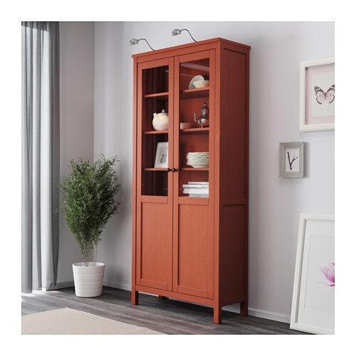 hemnes cabinet with panel glass door red brown 90x197 cm. Black Bedroom Furniture Sets. Home Design Ideas