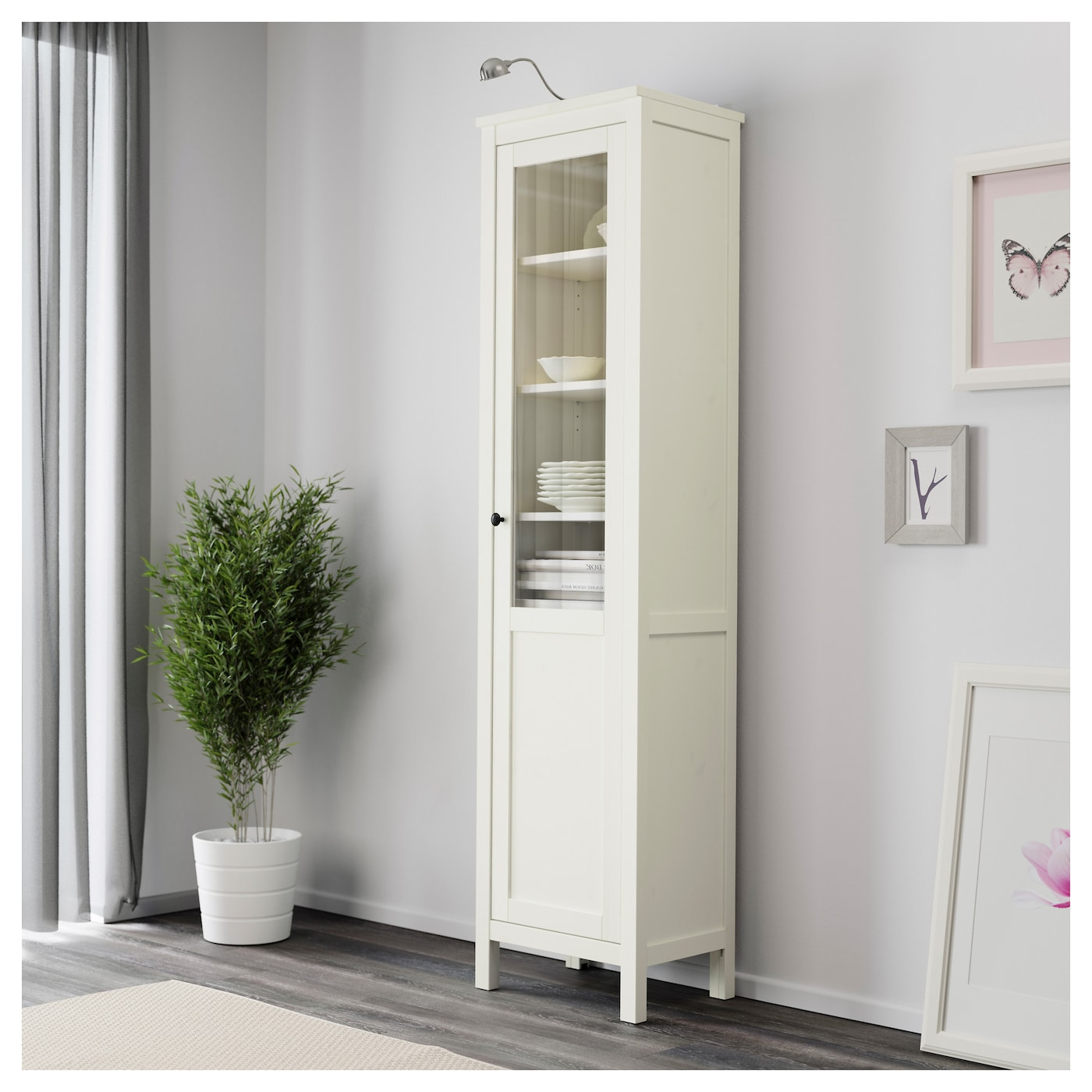 hemnes cabinet with panel glass door white stain 49x197 cm. Black Bedroom Furniture Sets. Home Design Ideas