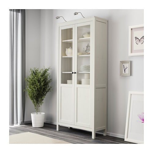 hemnes cabinet with panel/glass-door white stain 90x197 cm - ikea