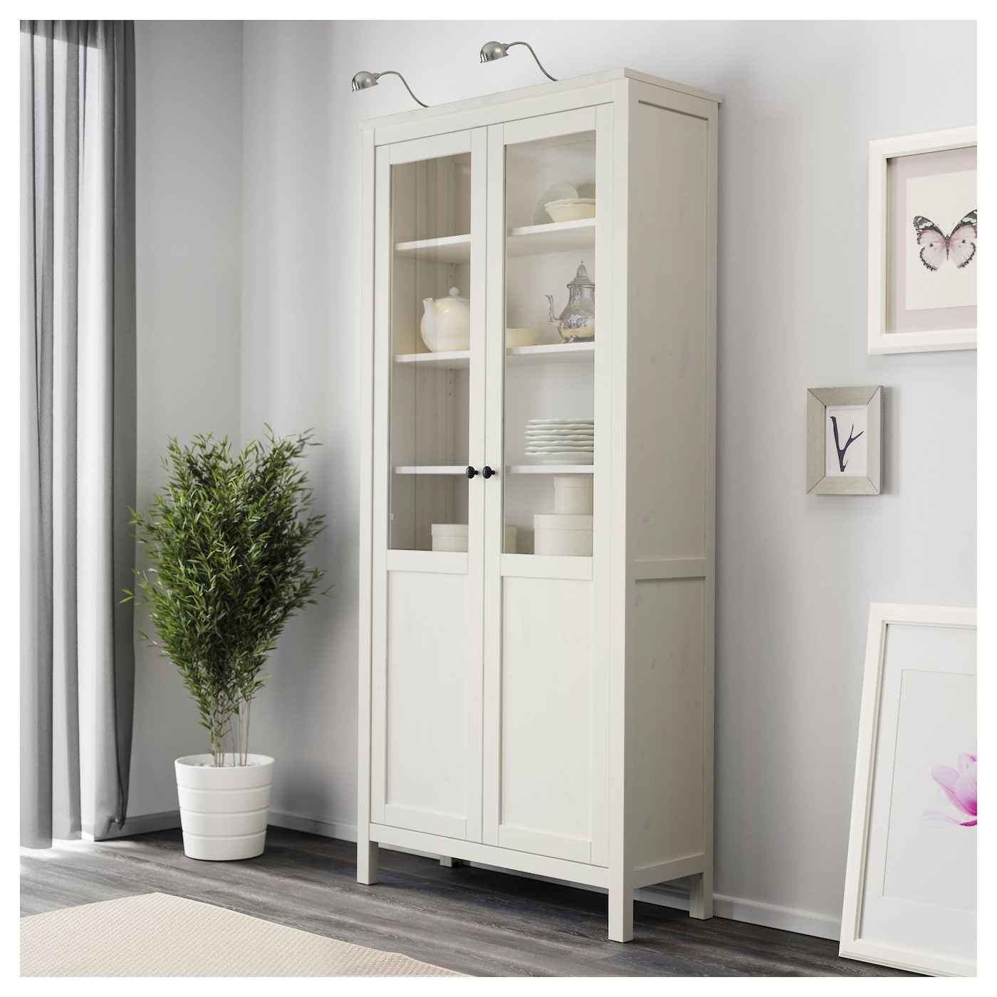 Hemnes cabinet with panel glass door white stain 90x197 cm Glass cabinet doors