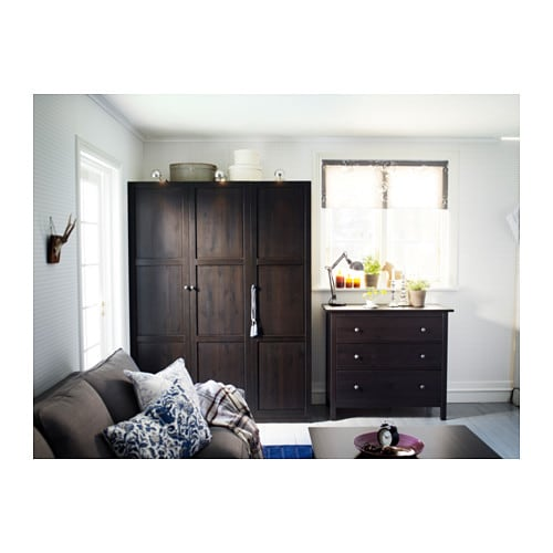 HEMNES Chest Of 3 Drawers Black Brown 108x95 Cm