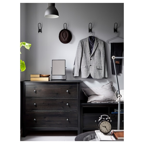 Hemnes Black Brown Chest Of 3 Drawers