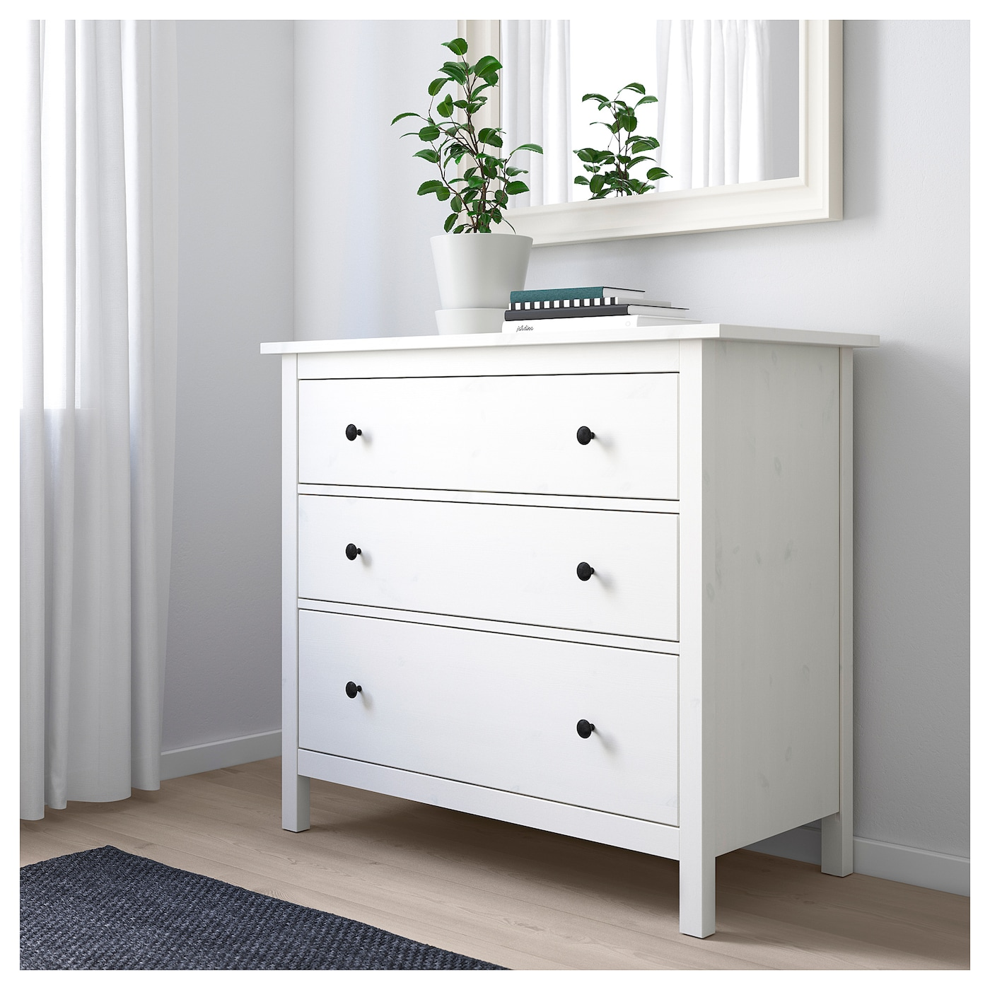 hemnes chest of 3 drawers white stain 108x96 cm ikea. Black Bedroom Furniture Sets. Home Design Ideas