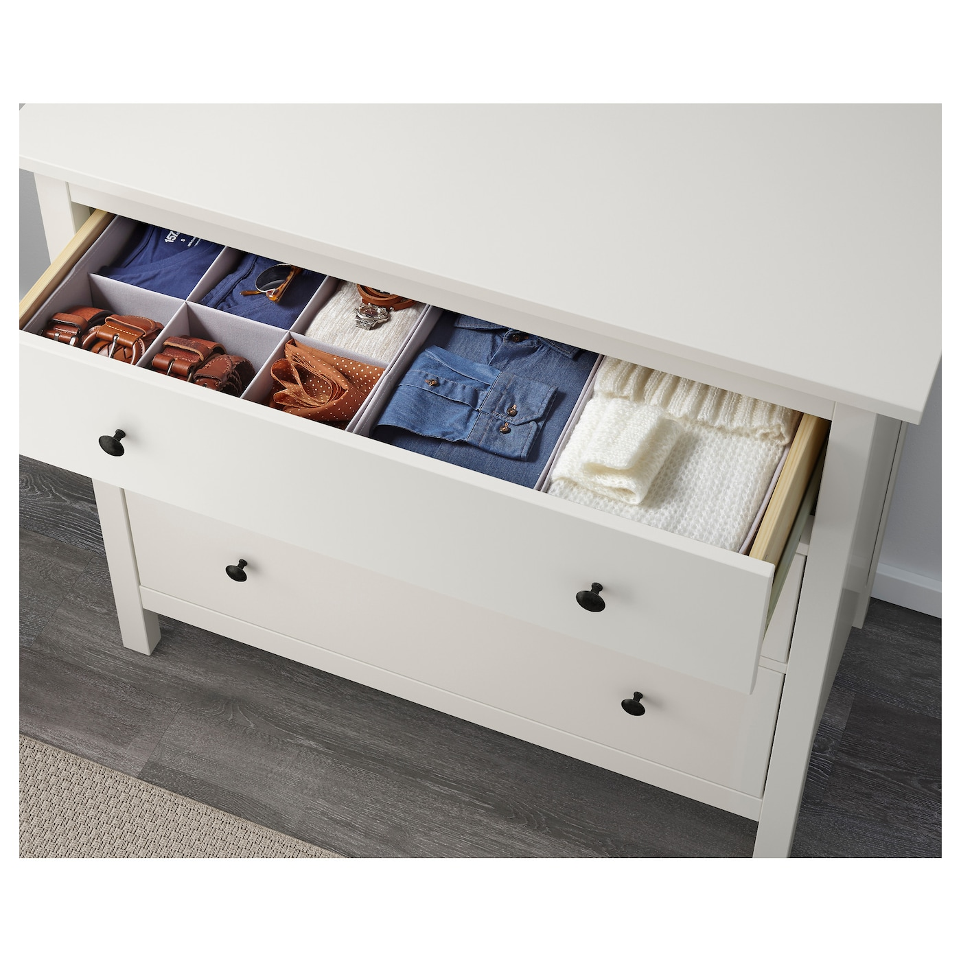 IKEA HEMNES chest of 3 drawers Smooth running drawers with pull-out stop.