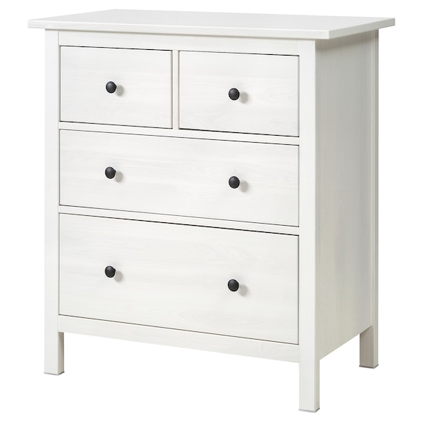 HEMNES Chest of 4 drawers, white stained, 88x96 cm