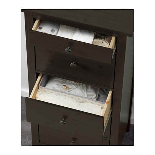 HEMNES Chest Of 5 Drawers Black Brown 58x131 Cm