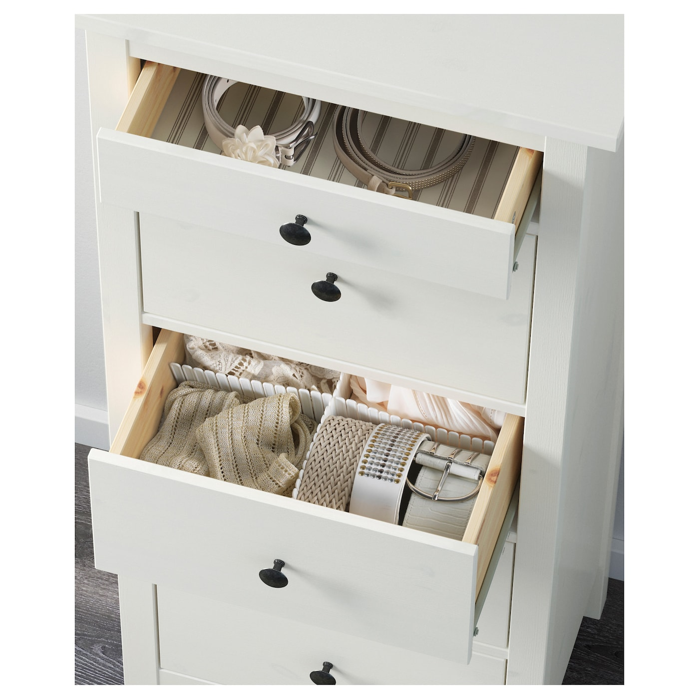 IKEA HEMNES chest of 5 drawers Made of solid wood, which is a hardwearing and warm natural material.