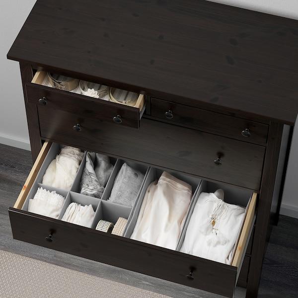 HEMNES Chest of 6 drawers, black-brown, 108x131 cm