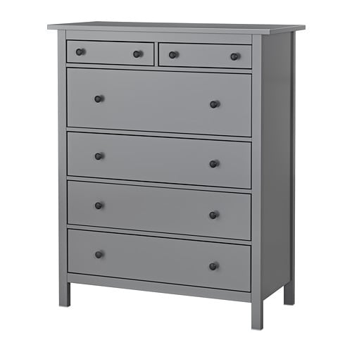 hemnes chest of 6 drawers grey 108x131 cm ikea. Black Bedroom Furniture Sets. Home Design Ideas
