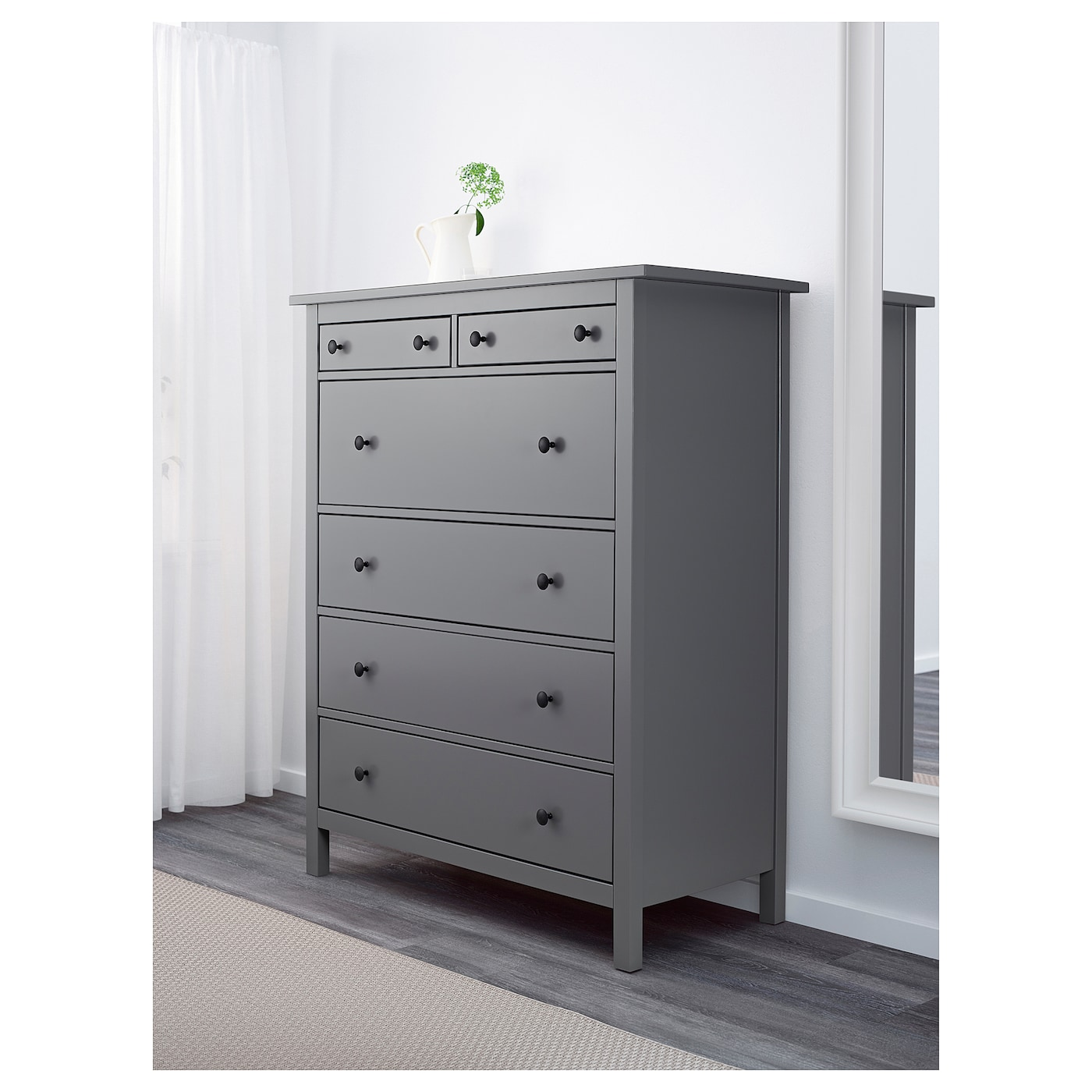 hemnes chest of 6 drawers grey 108 x 131 cm ikea. Black Bedroom Furniture Sets. Home Design Ideas