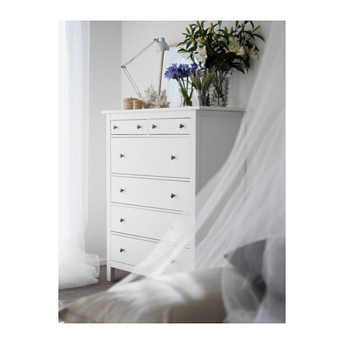 hemnes chest of 6 drawers white stain 108x130 cm ikea. Black Bedroom Furniture Sets. Home Design Ideas