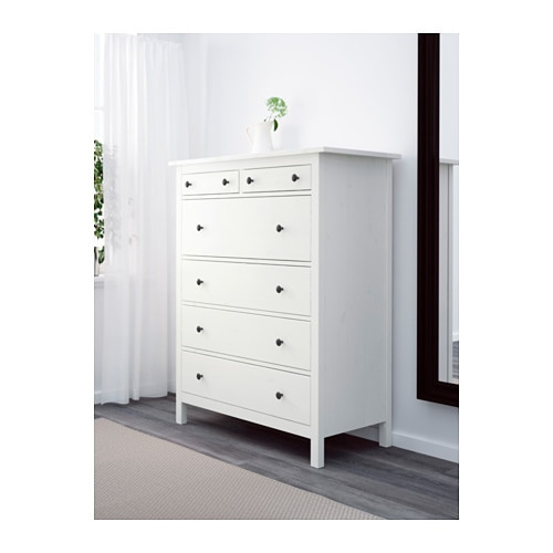 HEMNES Chest of 6 drawers White stain 108x130 cm - IKEA
