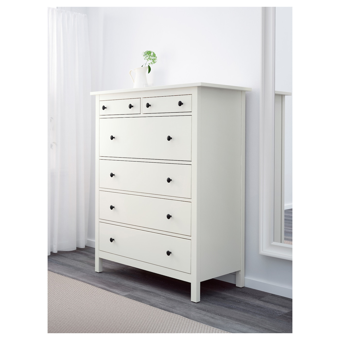 hemnes chest of 6 drawers white 108x130 cm ikea