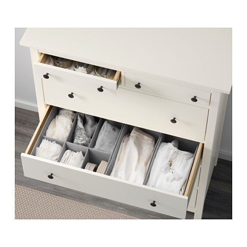IKEA HEMNES chest of 6 drawers Smooth running drawers with pull-out stop.
