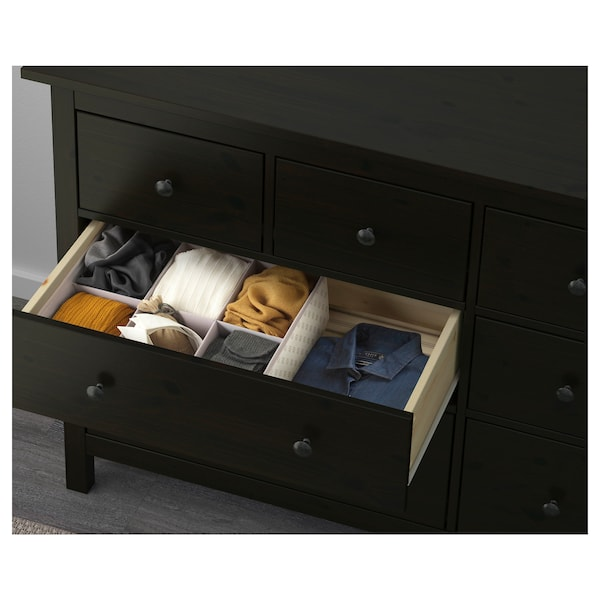 Hemnes Black Brown Chest Of 8 Drawers