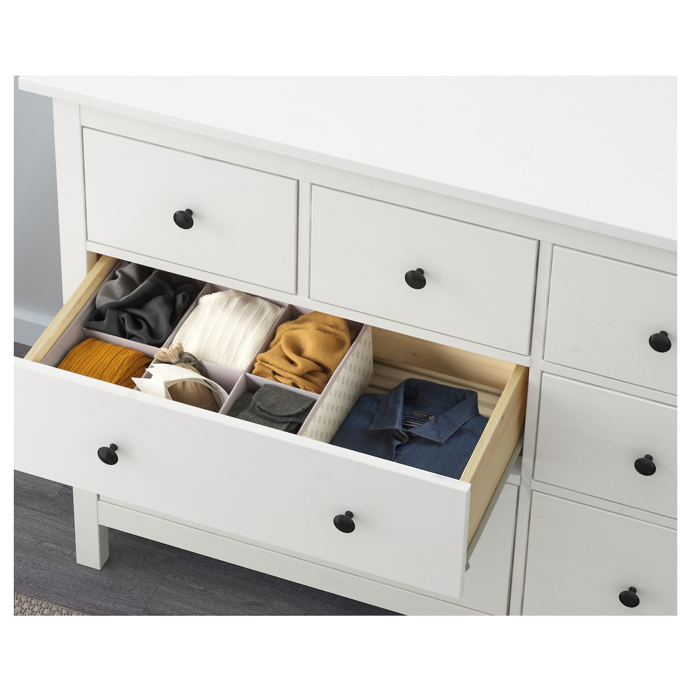 IKEA HEMNES chest of 8 drawers Smooth running drawers with pull-out stop.
