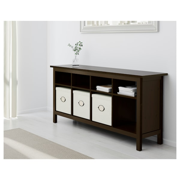 HEMNES Console table, black-brown, 157x40 cm