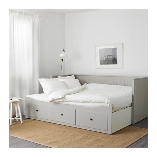 Hemnes day bed frame with 3 drawers grey 80x200 cm ikea for Grey double divan