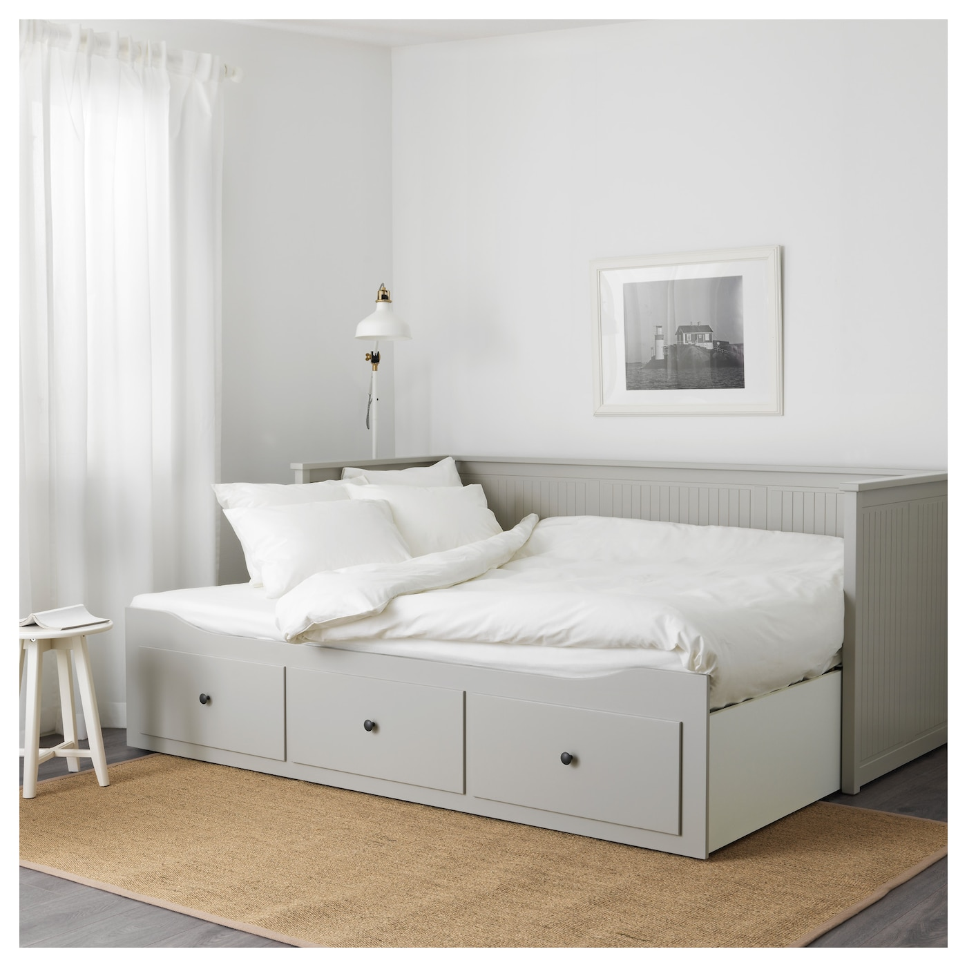 Hemnes day bed frame with 3 drawers grey 80x200 cm ikea for Hemnes daybed ikea