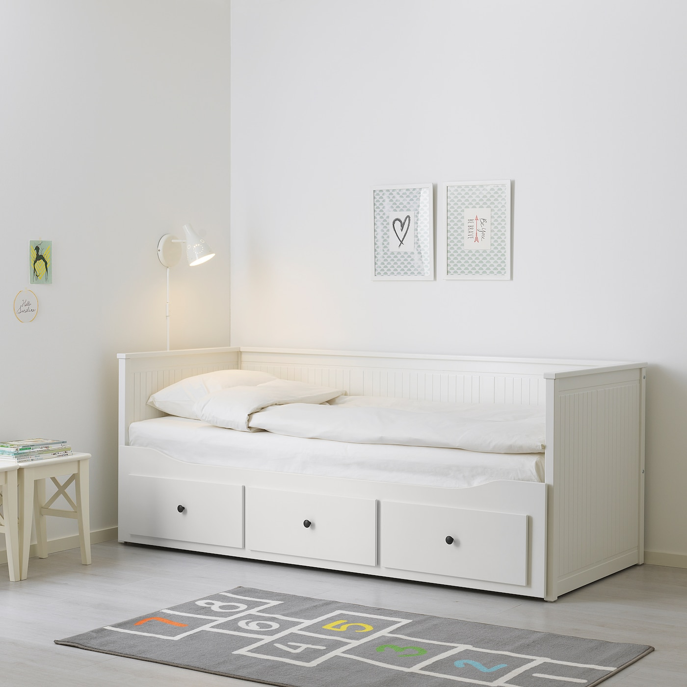 - HEMNES White, Malfors Medium Firm, Day-bed W 3 Drawers/2