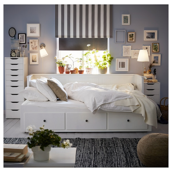 HEMNES day-bed w 3 drawers/2 mattresses white/Moshult firm 18 cm 209 cm 89 cm 83 cm 55 cm 70 cm 168 cm 202 cm 200 cm 80 cm
