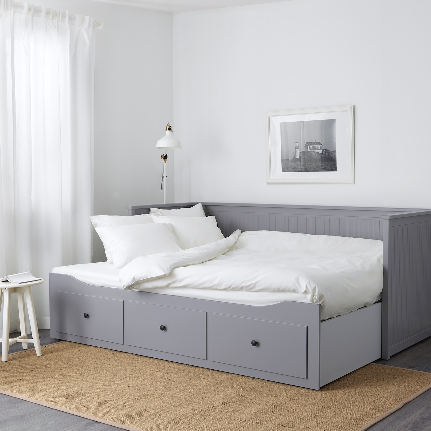 - HEMNES Grey, Moshult Firm, Day-bed W 3 Drawers/2 Mattresses